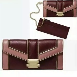 Michael Kors Whitney chain wallet oxblood multi